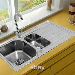1.5 Double Bowl Kitchen Sink Stainless Steel Corrosion Resistant Dual Sink Basin
