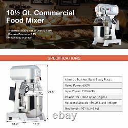 10 Qt Commercial Dough Mixer 600W Stand Mixer with Stainless Steel Mixing Bowl