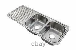 1180 x 480mm Polished Inset Reversible 2.0 Bowl Stainless Steel Kitchen Sink E10