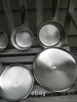 12pc Vtg ROME NY Revere Ware Lot Copper Clad Fry Pans Saucepans 3 Mixing Bowls