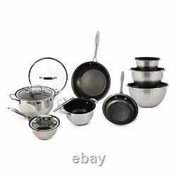 15-Piece Stainless Steel Cookware Set with Mixing Bowls Scratch-Resistant