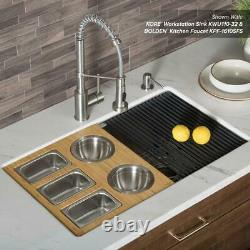 16.75 in. Workstation Kitchen Sink Composite Serving Board Set with Stainless