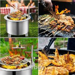 22 Bonfire Fire Pit Smokeless Stainless Steel Wood Burning with Grill & Air Inlet