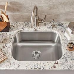 23 Stainless Steel Undermount Single Bowl Rectangle Kitchen Sink with grate
