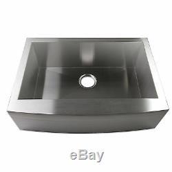 24 Zero Radius Single Bowl Stainless Steel Apron Farm Sink Curved Front