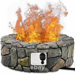 28'' Propane Gas Fire Pit Outdoor 40,000 BTUs Stone Finish Lava Rocks Cover