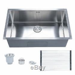 28 x 18 x 9 Undermount Handmade Stainless Steel Single Bowl Kitchen Sink