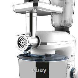 3 in 1 Stand Mixer with7QT Tilt-Head Bowl 6 Speeds 850W Meat Grinder Blender White