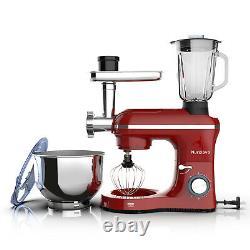 3 in 1 Tilt-Head Stand Mixer with 7QT Bowl 6 Speeds 850W Meat Grinder Blender Red