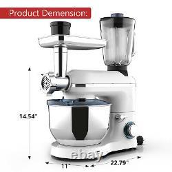 3 in 1 Tilt-Head Stand Mixer with7QT Bowl 6 Speeds 850W Meat Grinder Blender White