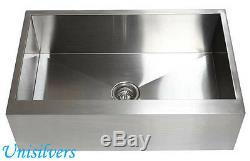 30 Farm APRON Kitchen Stainless Steel Sink Flat Front Zero Radius Single Bowl