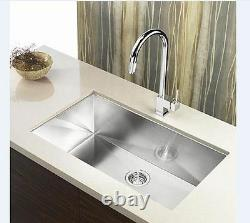 30 Single Bowl Undermount 16 Gauge 304 Stainless Steel Kitchen Sink Zero Radius