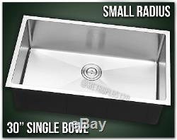 30 Single Bowl Undermount Combo Stainless Steel Kitchen Sink Small Radius