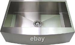 30 Stainless Steel Kitchen Farm Sink Curved Front Single Bowl