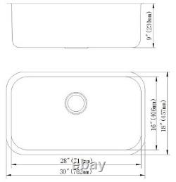 30 x 18 x 9 Deep Stainless Steel 18G Undermount Single Bowl Kitchen Sink