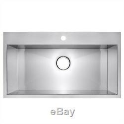 30 x 18 x 9 Handmade Topmount Single Bowl Basin Stainless Steel Kitchen Sink