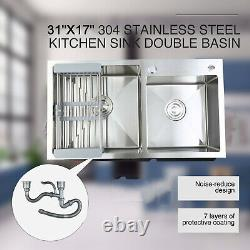 304 Stainless Steel Double Bowl Premium Dual Basin Kitchen Sink with Strainer New