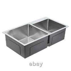 304 Stainless Steel Double Bowl Squre Kitchen Wash Basin Top/Undermount Sink