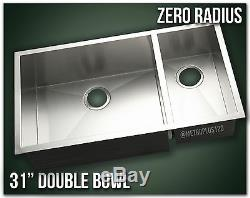 31 Double Bowl Undermount 16 Gauge 304 Stainless Steel Kitchen Sink Zero Radius
