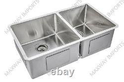 32 3/4x19 Double Bowl 60/ 40 Stainless Steel T-304 Undermount Kitchen Sink R15