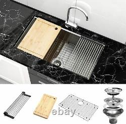 32 Inch Undermount Workstation Kitchen Sink 16 Gauge Single Bowl Stainless Steel