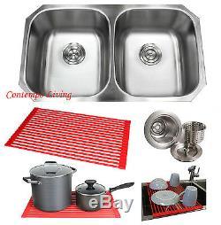 32 Stainless Steel Double 50/50 Bowl 18 Gauge Undermount Kitchen Sink Dish Rack