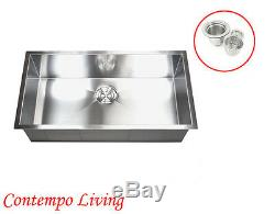 32 Undermount Single Bowl 16 Gauge Stainless Steel Kitchen Sink Zero Radius
