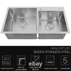 32x17.7x8.7 Stainless Steel Double Bowl Undermount Kitchen Sink Basin
