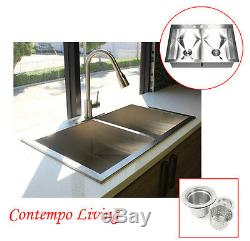 33 Double Bowl 50/50 Topmount Drop In Zero Radius Stainless Steel Kitchen Sink