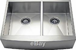33 Double Bowl Apron Farmhouse Stainless Steel Kitchen Sink -AP3319BS- 10 Deep