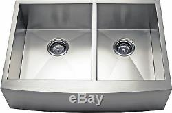 33 Double Bowl Apron Farmhouse Stainless Steel Kitchen Sink -AP3319BS- 9 Deep