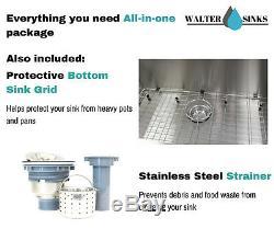 33 Handmade 304 Stainless Steel Apron Farmhouse Single Bowl Kitchen Sink 16G