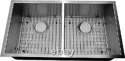 33 Heavy Duty 16 Gauge Zero Radius Kitchen Sink COMBO 50/50 split bowl 3318AD