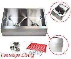 33 Stainless Steel Arrow Front Style Farm House Apron Kitchen Sink Double Bowl