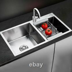 33 x 18 x 9 Stainless Steel Double Bowl 16 Gauge Kitchen Sink Topmount New