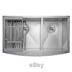 33 x 22 x 9 Apron Farmhouse Handmade Stainless Steel Double Bowl Kitchen Sink