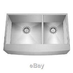 33x21x10 Country Farmhouse Stainless Steel Double Bowl 16g Apron Sink
