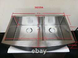 36 Stainless Steel Kitchen Farm Sink Curved Front Dual Bowl