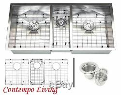 42 Stainless Steel Square Zero Radius Triple Bowl Undermount Kitchen Sink Combo