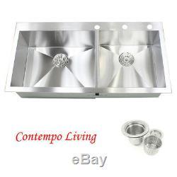 43 16G Topmount Drop In Zero Radius Stainless Steel Double Bowl Kitchen Sink