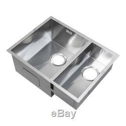 585 x 440mm 1.5 Bowl Handmade Stainless Steel Undermount Kitchen Sink (DS009L)