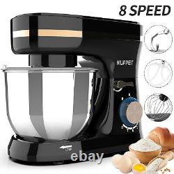 8 Speeds Electric Food Stand Mixer with5-QT Tilt-Head Bowl Stainless Steel, Black