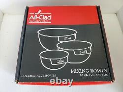 All-Clad Polished Stainless Steel 3-Pcs Mixing Bowl set 1.5, 3, 5 QT With Handles