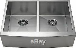 Alpha 30 Equal Bowl Apron Farmhouse Stainless Steel Kitchen Sink AP3019D-10