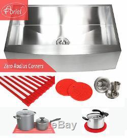 Ariel 36 Stainless Steel Single Bowl 16G Curve Apron Kitchen Farm Sink Combo
