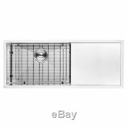 BAI 1253 45 Handmade Stainless Steel Kitchen Sink Single Bowl With Drainboard