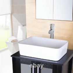 Bathroom Rectangle Ceramic Vessel Sink WithFaucet Basin Bowl Combo Drain Hose