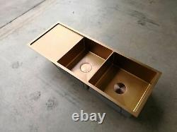 Brushed rose gold copper stainless steel double bowl kitchen sink drainer r10 mm