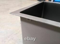 Burnished gunmetal Black stainless steel kitchen single sink trough 280 mm deep