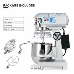 Commercial 10 Qt Electric Dough Mixer Food Mixer w Stainless Steel Mixing Bowl